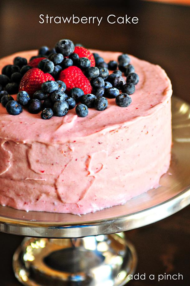 Strawberry Cake from addapinch.com