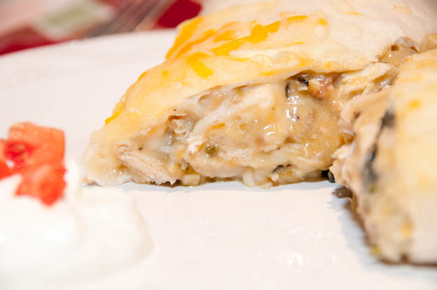 Cheesy Chicken Burritos Recipe from addapinch.com