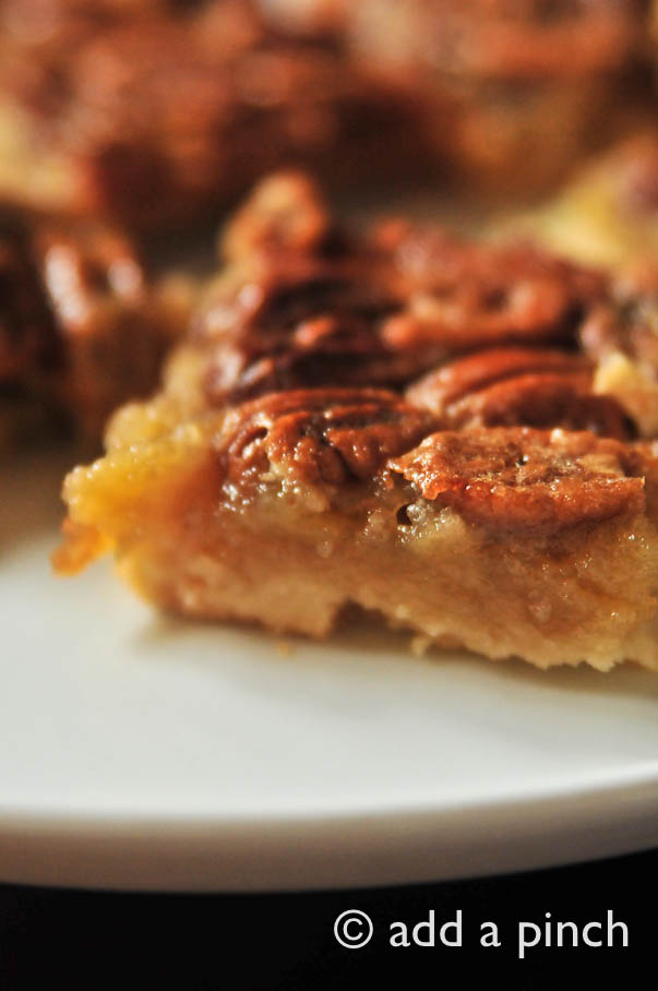 Southern Pecan Pie Bars Recipe | ©addapinch.com