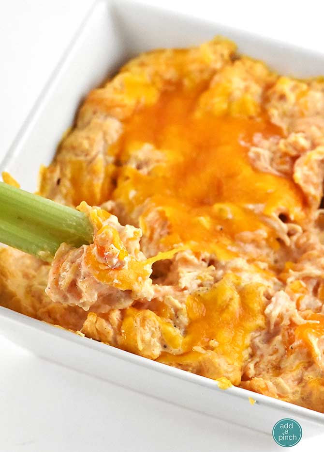 Buffalo Chicken Dip Recipe from addapinch.com