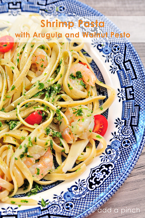 Shrimp Pasta with Arugula and Walnut Pesto Recipe 1