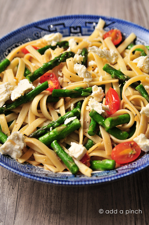 Spring Asparagus and Tomato Pasta with Feta Recipe - Add a Pinch