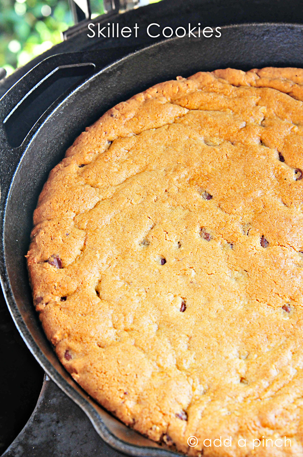 Skillet Cookies Recipe from addapinch.com