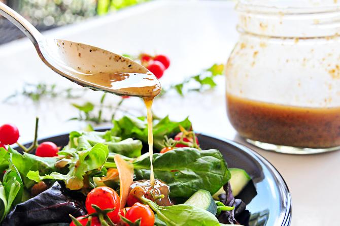 Bacon Vinaigrette Recipe from addapinch.com