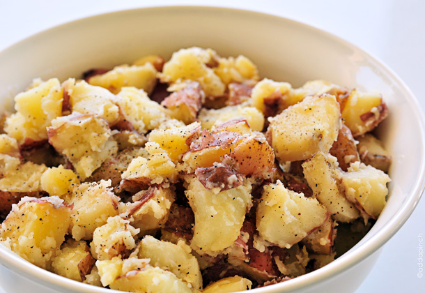 Simple Buttered Potatoes Recipe from addapinch.com