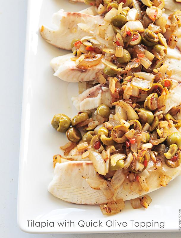 Tilapia with Quick Olive Topping | Add a Pinch.com