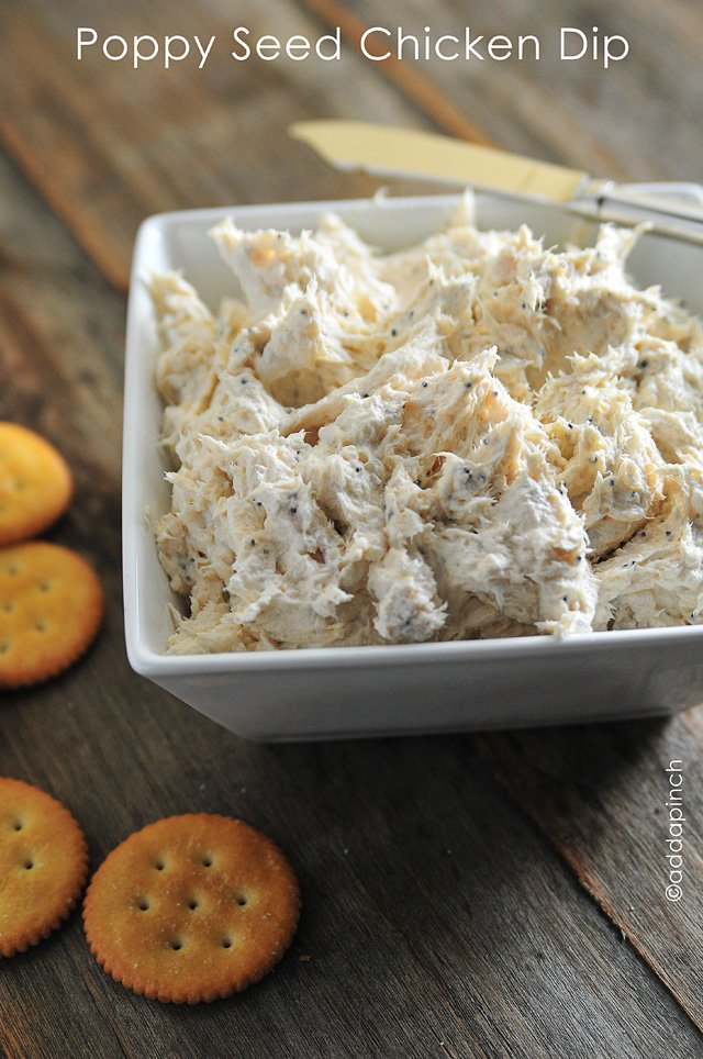 Poppy Seed Chicken Dip from addapinch.com