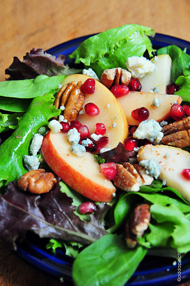 Apple Pear Salad with Pomegranate VinaigretteCooking Add a Pinch
