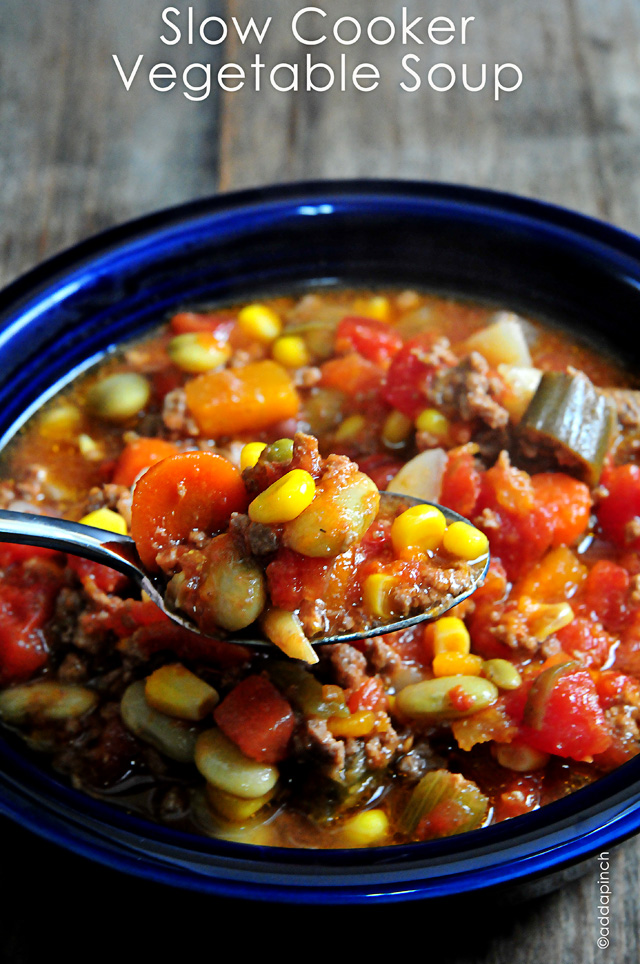 Slow Cooker Vegetable Soup | addapinch.com
