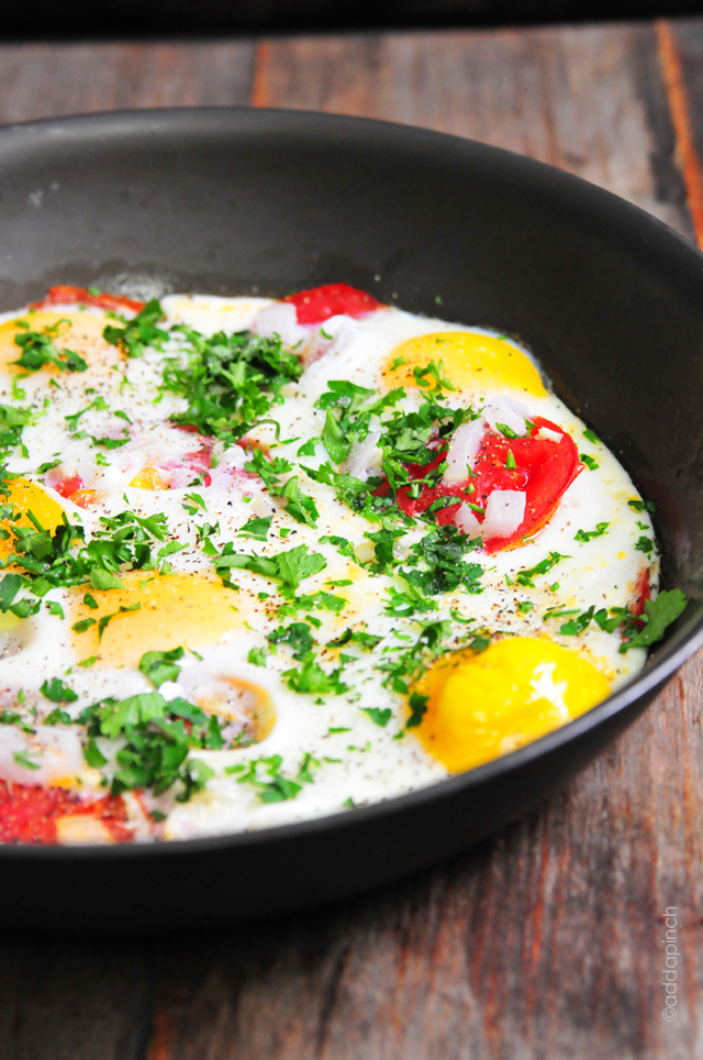Tomato Baked Eggs | addapinch.com