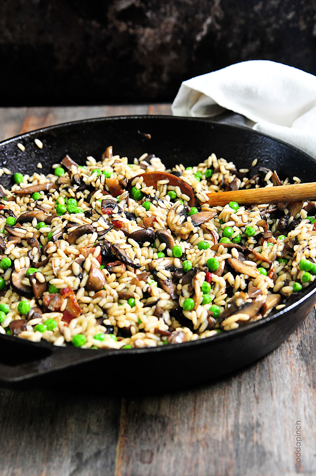Mushroom Risotto with Bacon and Peas | Add a Pinch