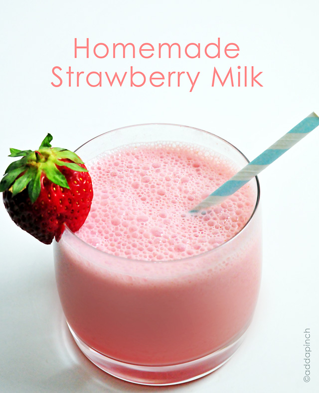 Homemade Strawberry Milk | addapinch.com