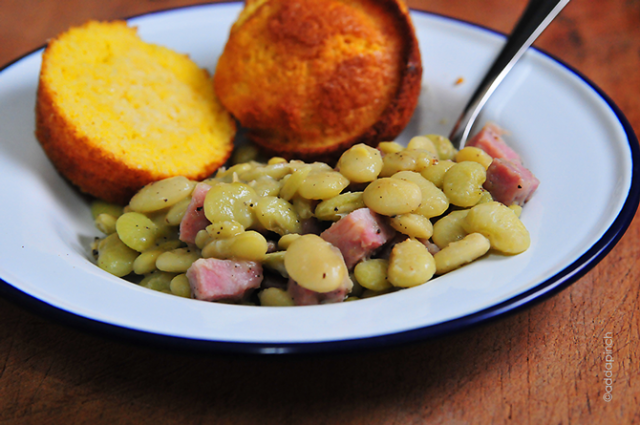 Lima Beans wtih Ham Recipe | addapinch.com