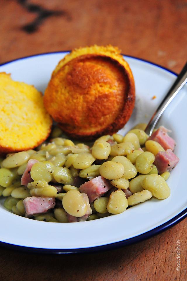 Lima Beans with Ham Recipe | addapinch.com