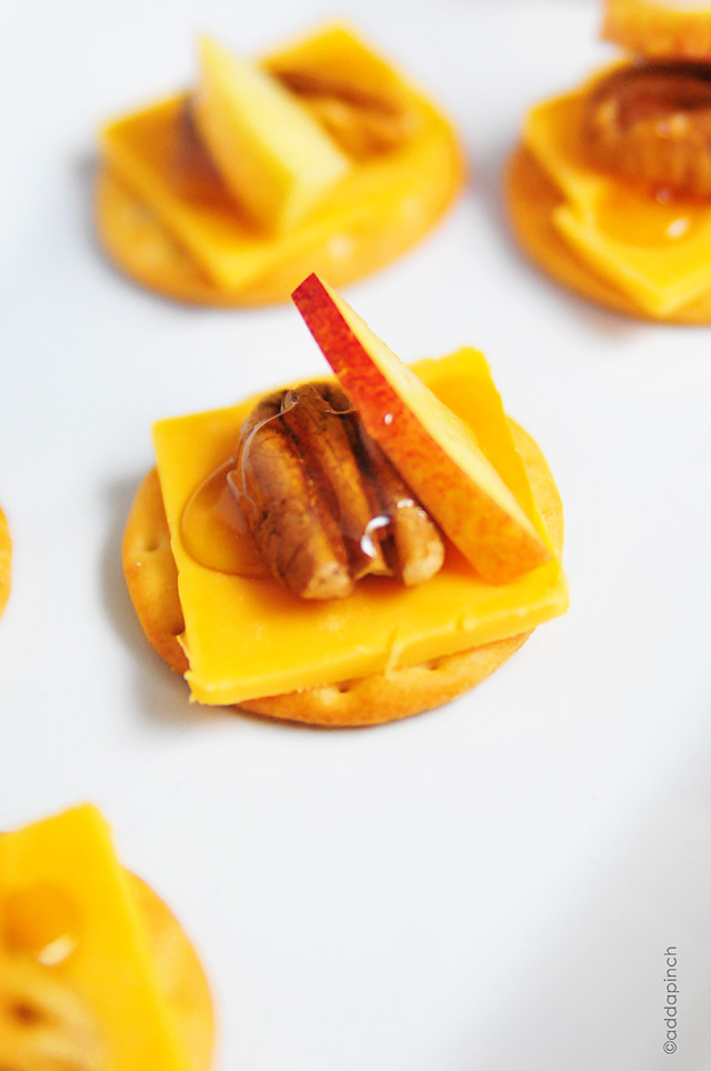 Honey Pecan Nectarine Cheddar Appetizers | addapinch.com