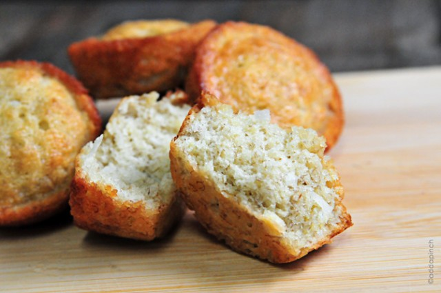 Coconut Pecan Banana Bread Muffins | addapinch.com