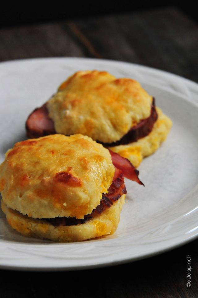 Ham and Cheddar Biscuits Recipe   addapinch.com
