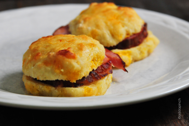 all that leftover ham is perfect in ham and cheddar biscuits