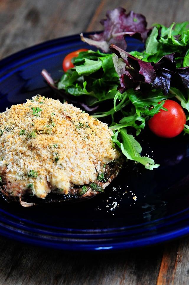 Crab Stuffed Mushrooms Recipe | ©addapinch.com