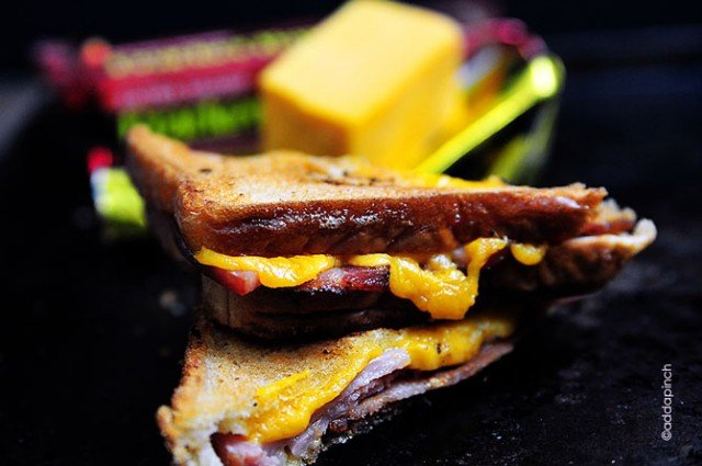Grilled Cheese Sandwich with Ham and Bacon Recipe | addapinch.com