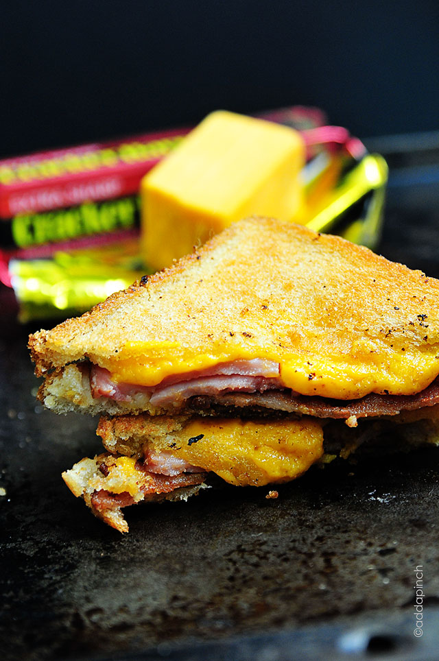 Grilled Cheese with Ham and Bacon Sandwich Recipe | addapinch.com