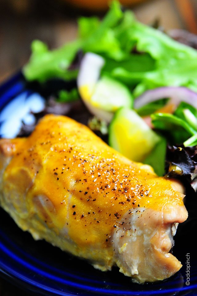Honey Mustard Roasted Chicken Thighs Recipe | © addapinch.com