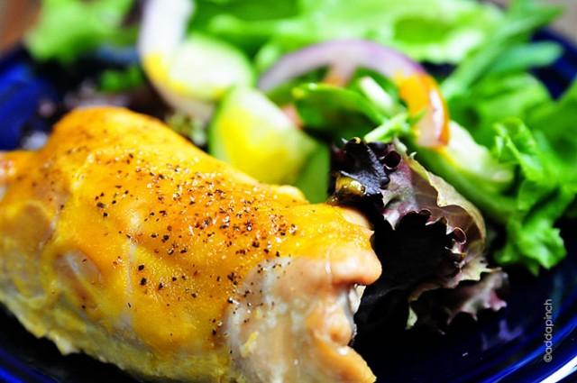 Honey Mustard Roasted Chicken Thighs Recipe | © addapinch.com