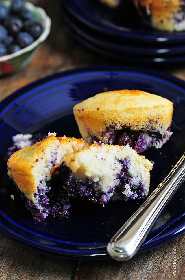 Lemon Blueberry Cornbread Muffins - Add a Pinch