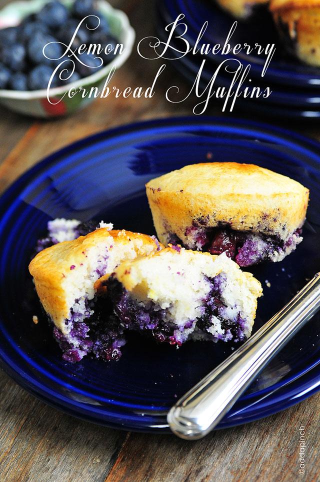 Lemon Blueberry Corn Muffins Recipe | ©addapinch.com