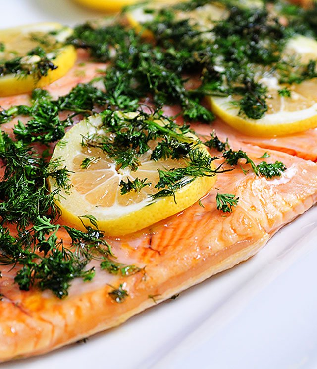 Image result for salmon with lemons