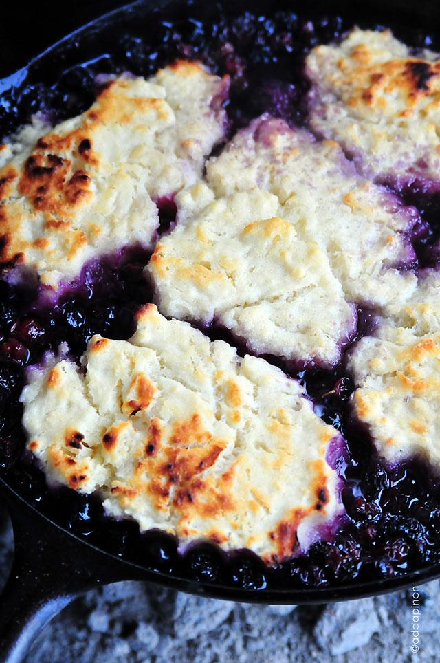 Golden crust atop blueberry cobbler  // addapinch.com