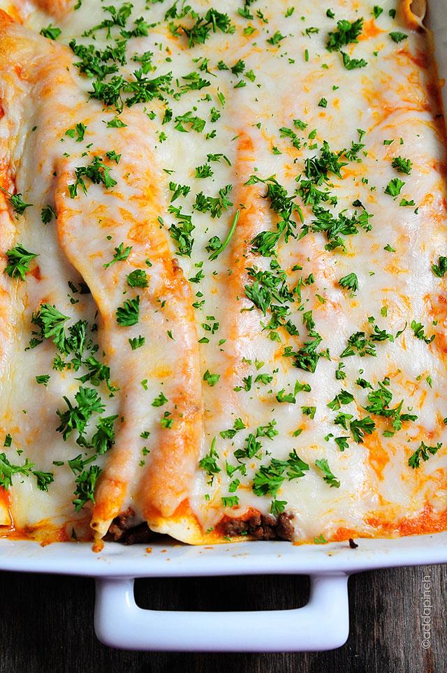 Beef Enchilada Recipe | ©addapinch.com