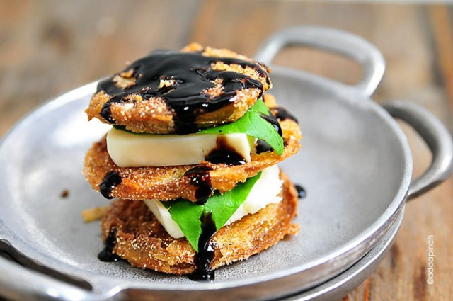 Fried Green Tomatoes Caprese Stacks Recipe | ©addapinch.com
