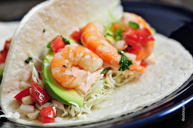 Shrimp Tacos . Mmmmm. Anytime you serve them, they sure are delicious!