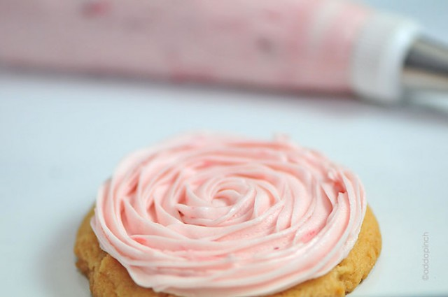 Strawberry Buttercream Frosting Recipe | ©addapinch.com