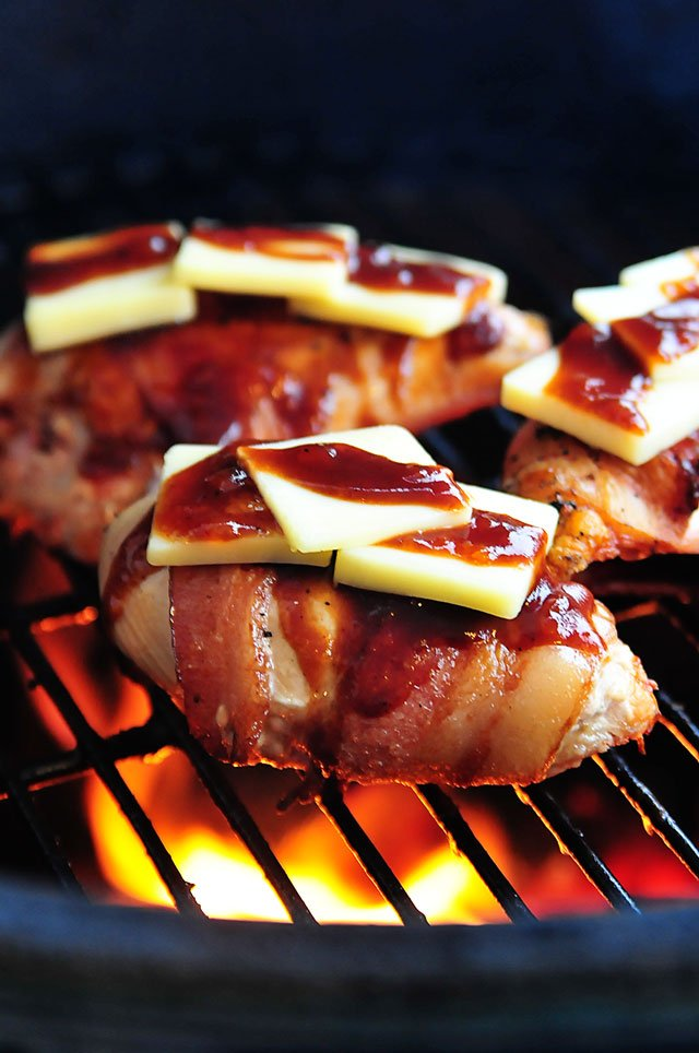 BBQ Chicken with Bacon and Cheddar Recipe | ©addapinch.com