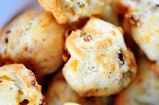 Cheddar and Bacon Puffs Recipe | ©addapinch.com