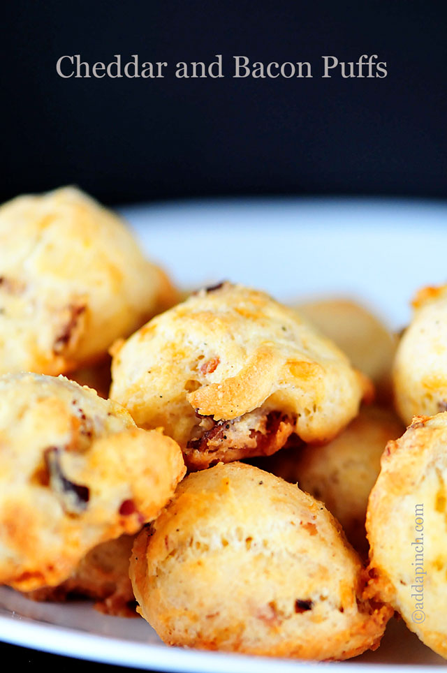 Cheddar and Bacon Puffs Recipe | ©addapinch.com