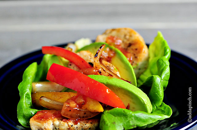 Chicken Fajita Lettuce Wraps Recipe | ©addapinch.com