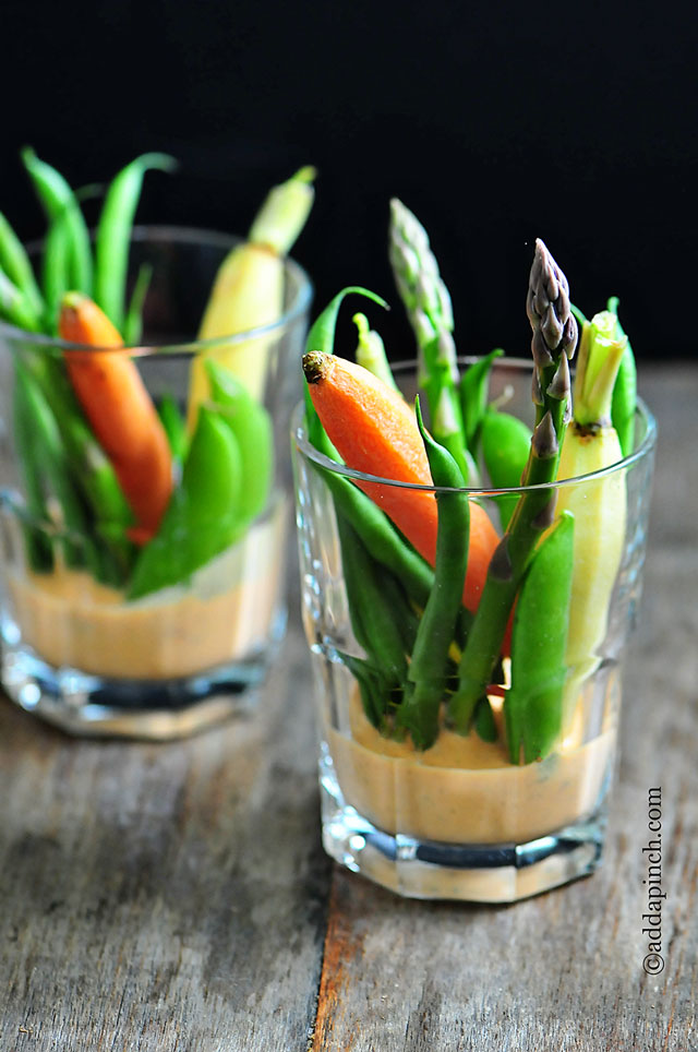 Crudites with Roasted Red Pepper Buttermilk Dip | ©addapinch.com