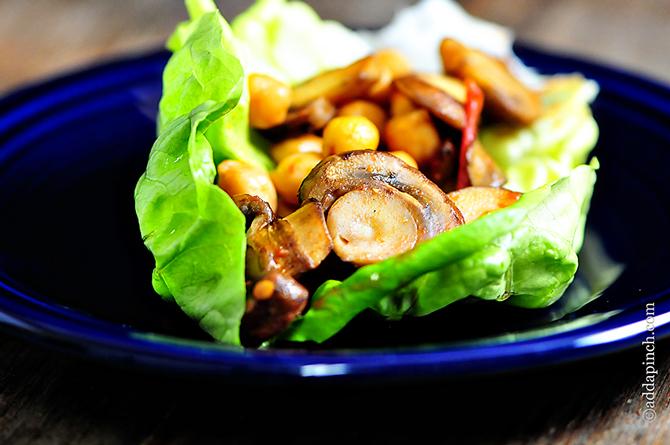 Mushroom Lettuce Wraps Recipe | ©addapinch.com