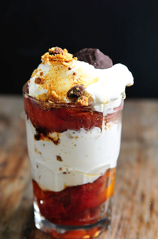 Roasted Peach Parfaits | ©addapinch.com
