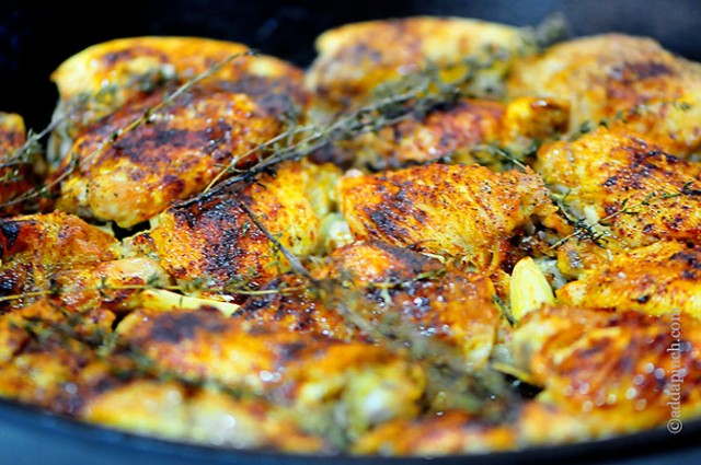 Skillet Roasted Chicken | ©addapinch.com