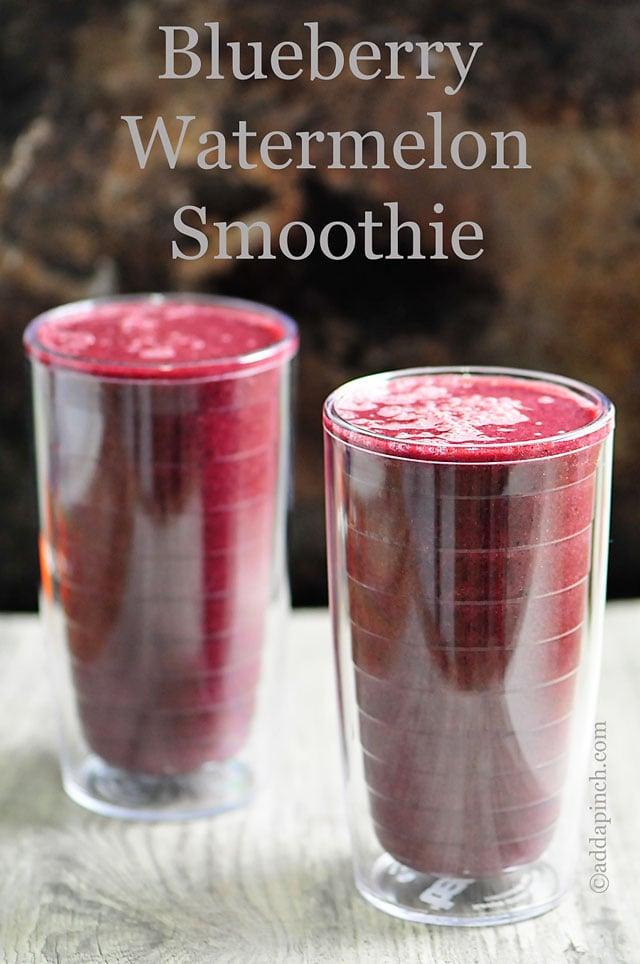 Blueberry Watermelon Smoothie Recipe | ©addapinch.com