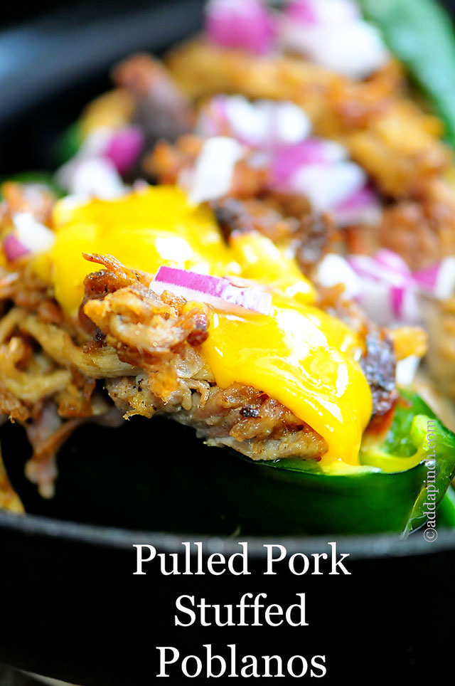 Pulled Pork Stuffed Poblano Peppers   ©addapinch.com