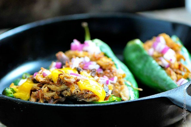 Pulled Pork Stuffed Poblano Peppers | ©addapinch.com