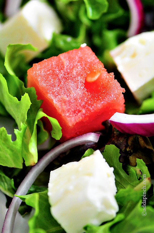 Watermelon Salad with Watermelon Vinaigrette Recipe | ©addapinch.com