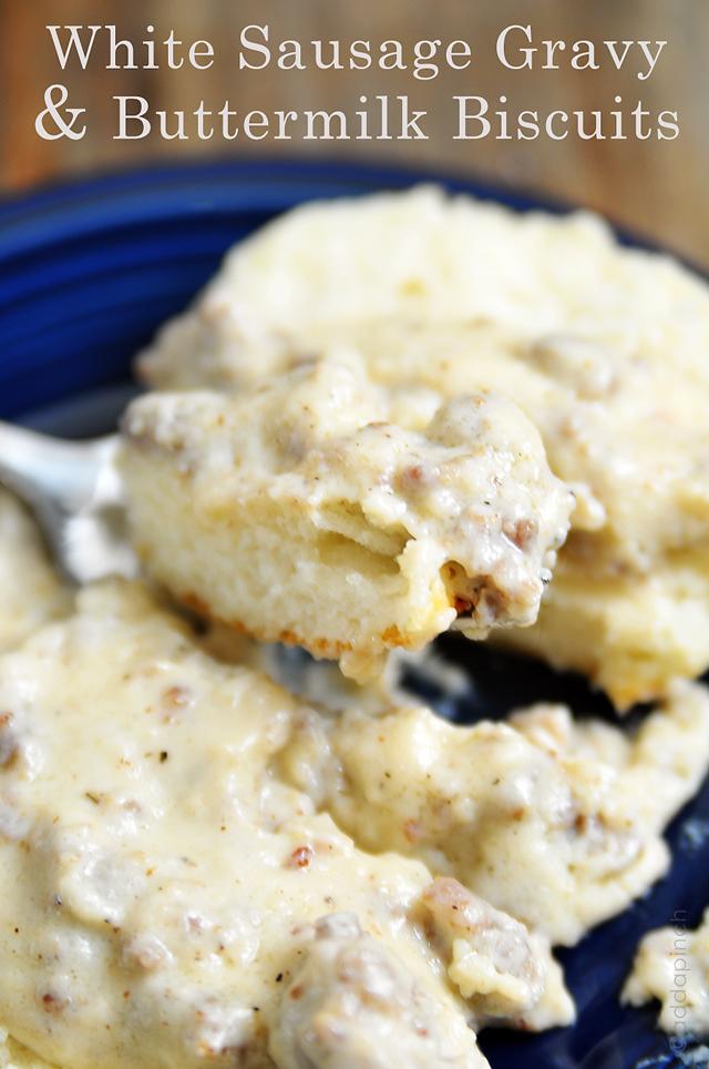 White Sausage Gravy Biscuits | ©addapinch.com
