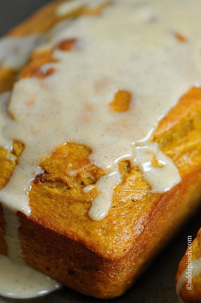 Pumpkin Banana Bread with Vanilla Bean Glaze Recipe - Add a Pinch