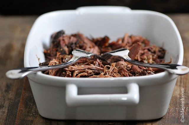 Shredded Beef Recipe | ©addapinch.com